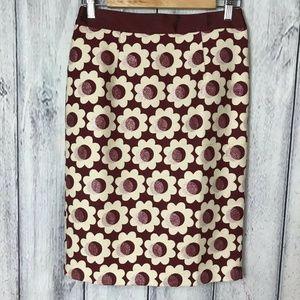 Boden Skirt Sz 4 Lined Burgundy Flower Design